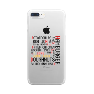 I love junk food !!(文字色:黒) Clear Smartphone Case