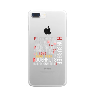 I love junk food !!(文字色:白) Clear smartphone cases