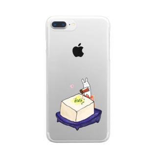 冷奴にしょう油をかけるうさぎ Clear smartphone cases