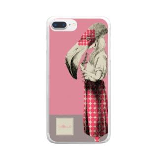 化けの皮ーフラミンゴー Clear smartphone cases
