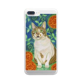 オレンジの花と猫 Clear smartphone cases