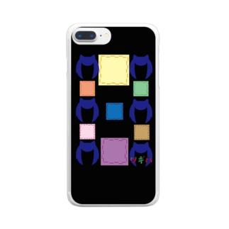ツギハちゃん柄ミックスブラック Clear smartphone cases