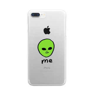 宇宙人くん緑 Clear smartphone cases