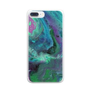 フルイドアート かいていのゆめ Clear smartphone cases