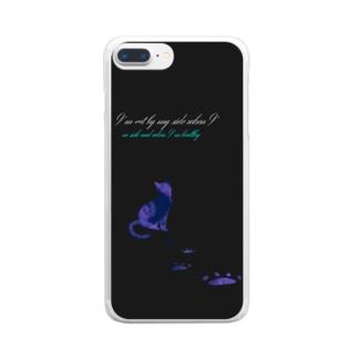 猫バナレ黒 Clear smartphone cases