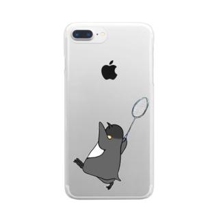 【背面プリント】バドミントンをするペントロー Clear smartphone cases