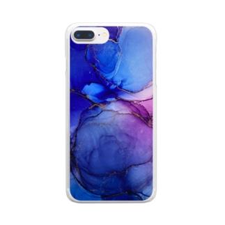 アルコールインクアート 紫煙 Clear smartphone cases