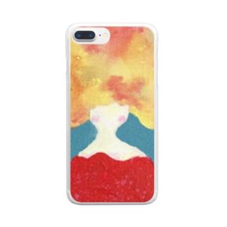 赤い服のアフロ Clear smartphone cases