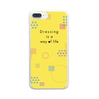 幾何学模様 黄色 Clear Smartphone Case