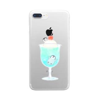 クリームソーダとペンギン Clear smartphone cases