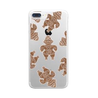 土偶の刺繍ランダム1 Clear smartphone cases