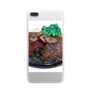 ステーキ Clear smartphone cases