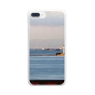 兵庫県:神戸付近の海の風景 Hyogo: view of the sea around Kobe Clear smartphone cases