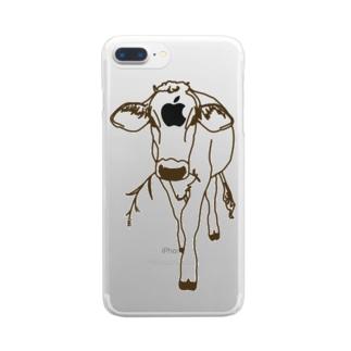 育成の牛 Clear smartphone cases