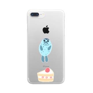 アザラシとケーキ Clear smartphone cases