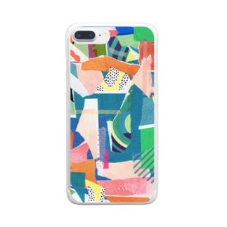 こんぶさんのカットアンドペースト(あおともも) Clear smartphone cases