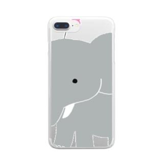 お花ぞうさん Clear smartphone cases
