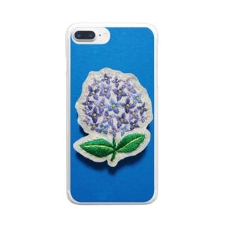 刺繍のアジサイ Clear smartphone cases