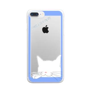 シンプル猫:ブルー白猫 Clear smartphone cases