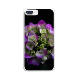 夜のアジサイ Clear smartphone cases