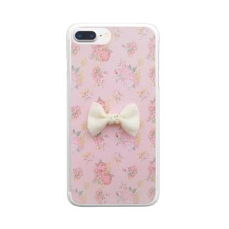 ピンク花柄に白いリボン Clear smartphone cases