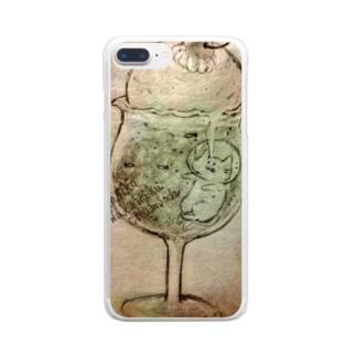 ねこねこわくわくクリームソーダ Clear smartphone cases