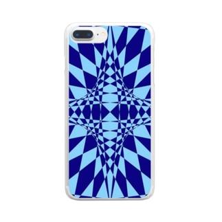 模様(青・水色) Clear smartphone cases
