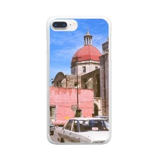 メキシコ:聖母被昇天大聖堂の風景写真 Mexico: view of Catedral de la Asunción de María / : Catedral de Cuernavaca Clear smartphone cases