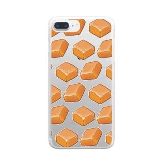 にくらしいミルクキャラメルのパターン Clear smartphone cases