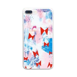 飛ぶリボン Clear smartphone cases