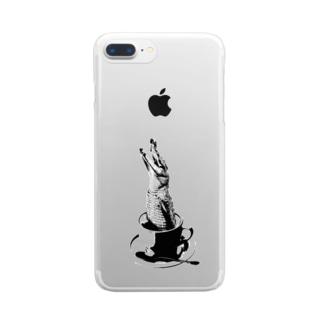 Crocochinno (Black) Clear smartphone cases