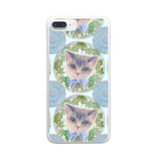 リボンをつけた子猫とアール・ヌーヴォー風レリーフのイラスト Clear smartphone cases