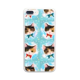 おしゃれなメガネをかけたミケ猫たちの夢かわいいイラスト Clear smartphone cases