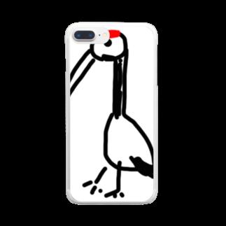 yukawawawaの助けられた鶴 Clear smartphone cases