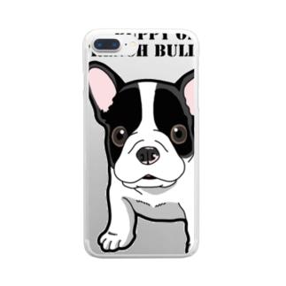 わんこ日和 フレンチブルドッグの仔犬 クリアスマートフォンケース