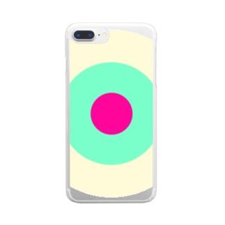 サークルa・クリーム・ペパーミント・ショッキングピンク2 Clear Smartphone Case