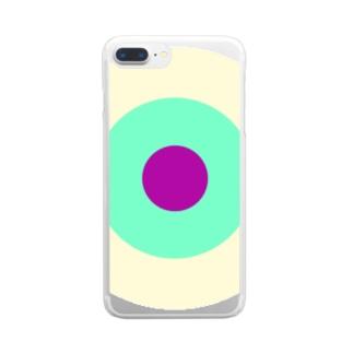 サークルa・クリーム・ペパーミント・パープル2 Clear smartphone cases