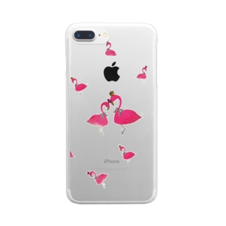 flamingo PINK LOVE Clear smartphone cases