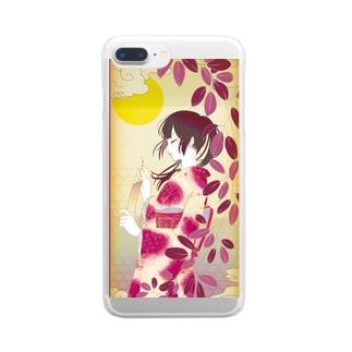 花札 -萩- Clear smartphone cases