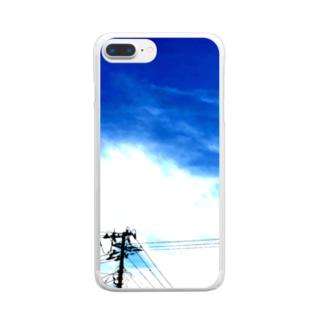 電線する。夏(縦) Clear smartphone cases