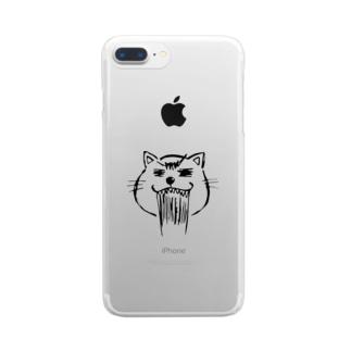 まるまるお顔のネコニャース Clear smartphone cases