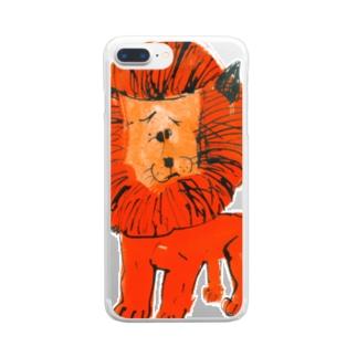 ひとみしり!ライオン Clear smartphone cases