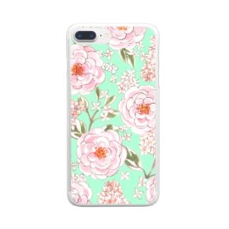 バラとライラック Rose and Lila Flowers Clear Smartphone Case
