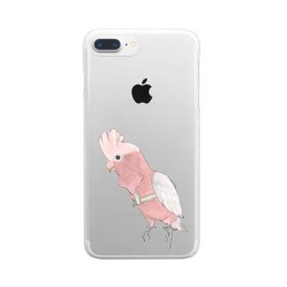 ご機嫌モモイロインコちゃん【まめるりはことり】 Clear smartphone cases