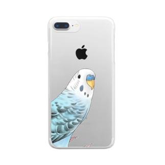 振りむきセキセイインコちゃん【まめるりはことり】 Clear smartphone cases