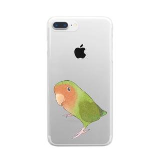 見つめるコザクラインコちゃん【まめるりはことり】 Clear smartphone cases