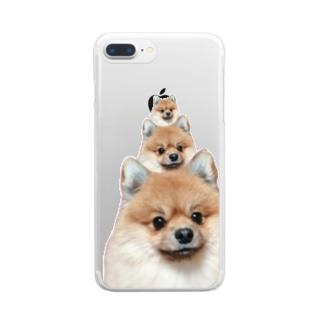 ポメラニアン×3 Clear smartphone cases