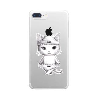 ダブルぱんつ白猫2017 Clear smartphone cases