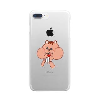 ピンク ほっぺパツパツリス Clear smartphone cases