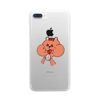 ピンク茶色 ほっぺパツパツリス  Clear smartphone cases